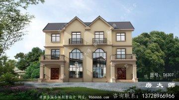 最新欧式双拼三层别墅设计外观效
