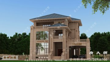 农村欧式豪华三层石材别墅建筑设