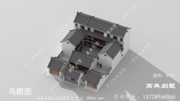 中式带庭院三层别墅设计图