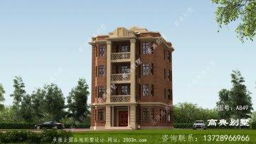 欧式古典五层平屋顶别墅设计图纸