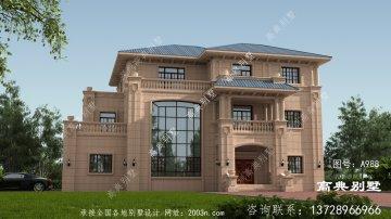 欧式石材三层乡村自建别墅设计