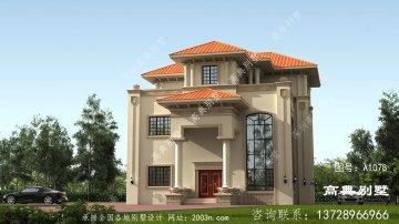 欧式高雅风格三层复式别墅设计图