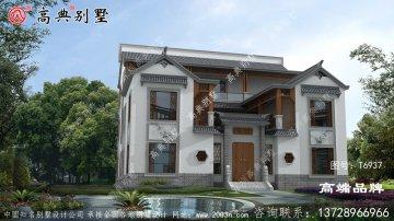 新中式三层时尚别墅外观效果图