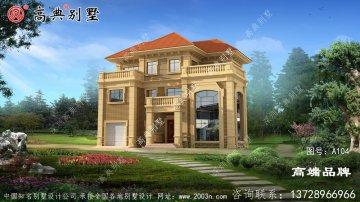 欧式三层自建别墅设计,超大落地