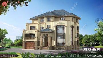欧式四层漂亮豪华复式别墅设计图