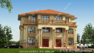 符合农村居住要求的欧式三层双拼别墅