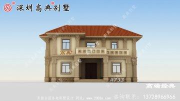 外墙以淡黄色搭配屋顶橘色 ,清新雅致